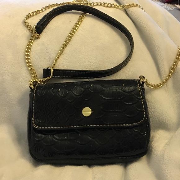 Handbags - Black shiny crossbody or evening bag